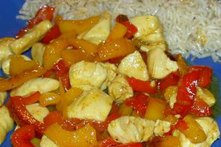Poulet et poivrons sauce curry
