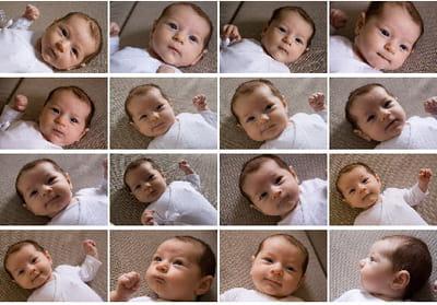 chaque photo est différente : le bébé exprime une multitude d'expressions.