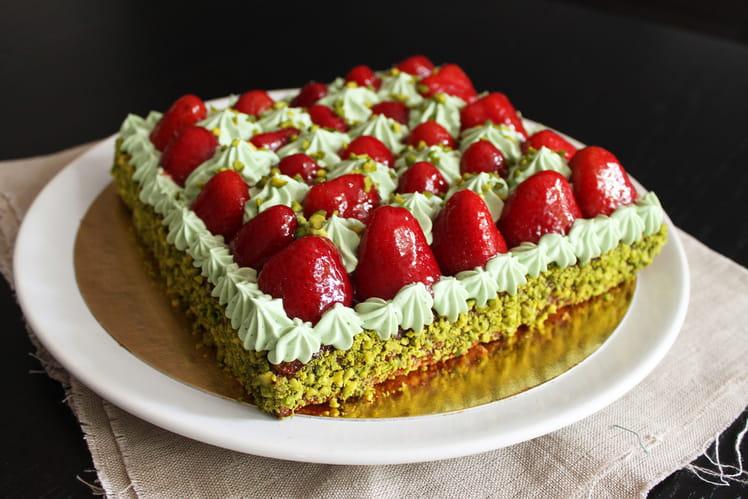 Tarte aux fraises à la crème de pistache