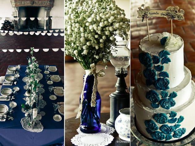 Décoration de mariage: esprit vintage et bleu