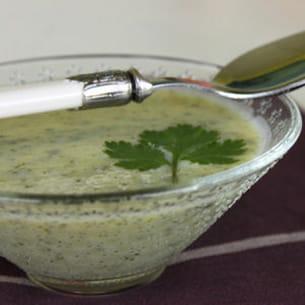 soupe à la courgette et à la coriandre