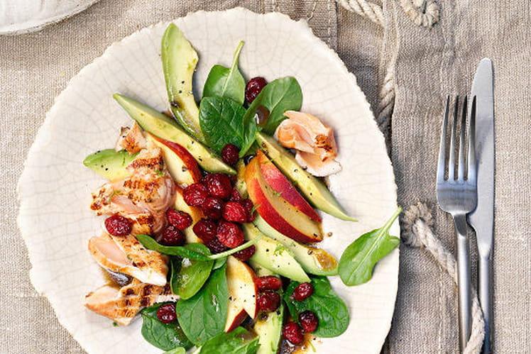 Salade de cranberries et de saumon grillé