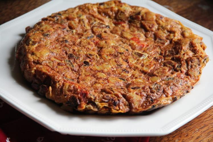 Tortilla au chorizo et oignons
