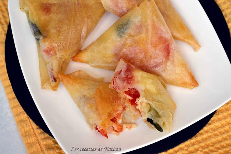 Samoussas au poulet, tomate et mozzarella