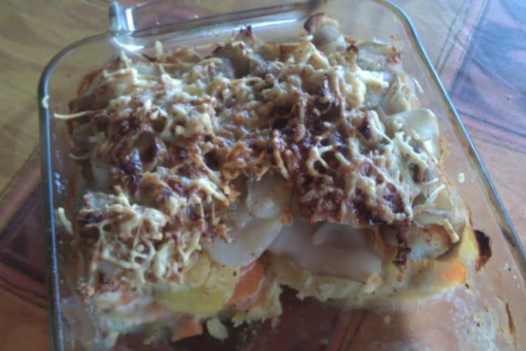 Gratin de topinambours, carottes et pommes de terre
