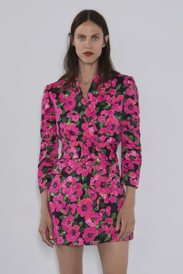 zara veste rose à fleurs