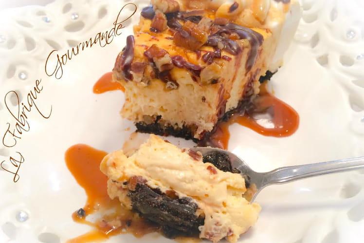 Cheesecake caramel chocolat pécans sans cuisson