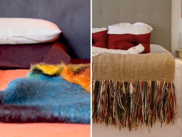 Un plaid en laine sur le lit