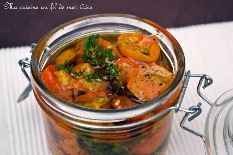 Tomates cerise jaunes confites au thym