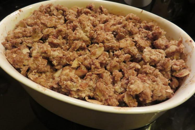 Crumble poires coings chocolat noir