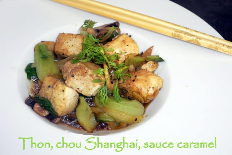 Thon, chou Shanghai, sauce caramel
