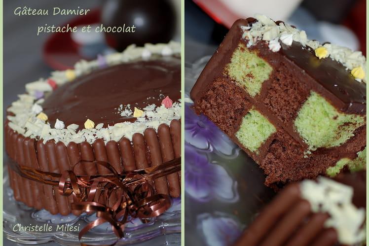 Gâteau Damier pistache et chocolat
