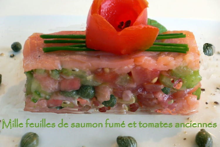 Millefeuille de saumon fumé et tomates anciennes