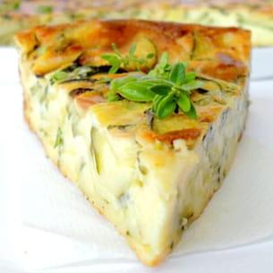 clafoutis léger aux courgettes et fromage de brebis