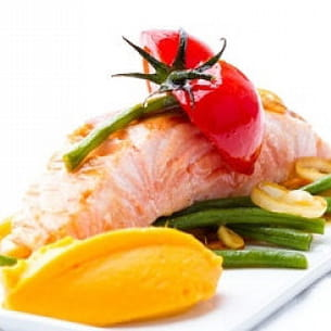 saumon au saké et ses légumes