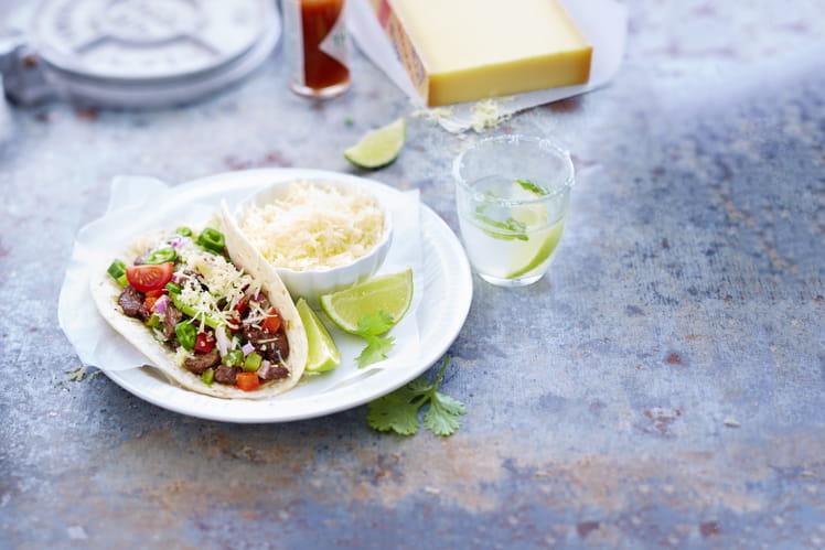 Tacos au bœuf mariné et Gruyère