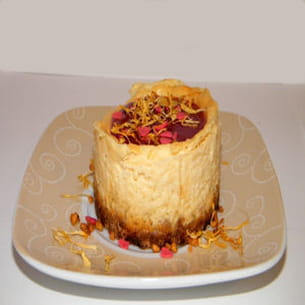cheesecake au chocolat blanc, rose et violette