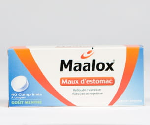 maalox, maux d'estomac, boîte de 40comprimés.