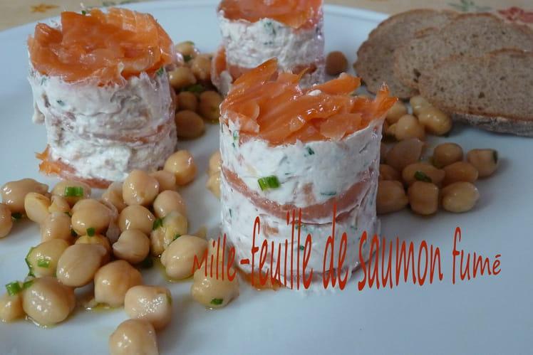 Mille feuille de saumon fumé