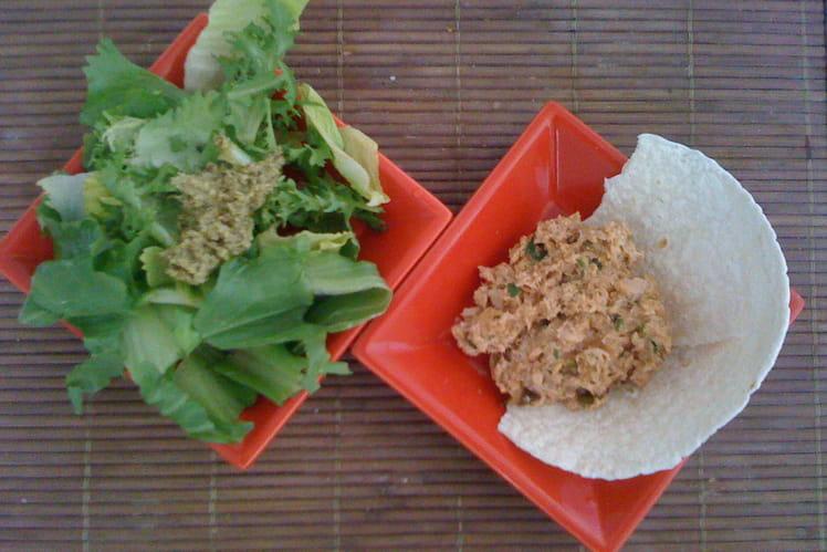 Tartare de thon et sa salade au pesto