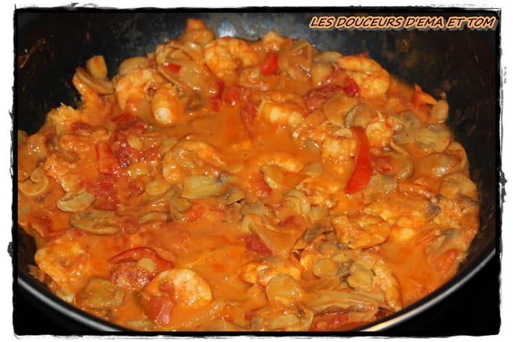 Crevettes au cumin et au curry