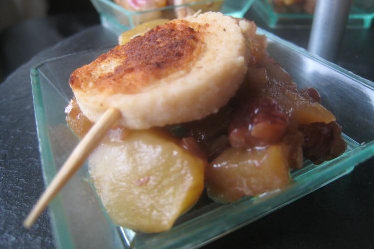 Verrines échalotes-pommes-noix et boudin blanc