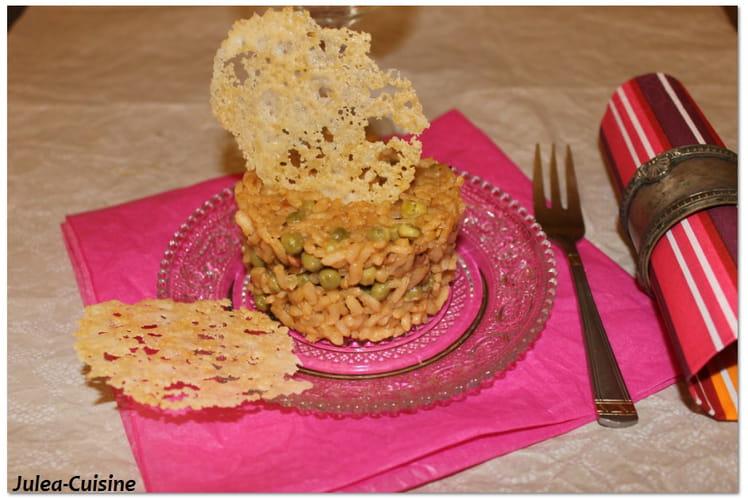 Risotto de riz brun, petit pois et parmesan