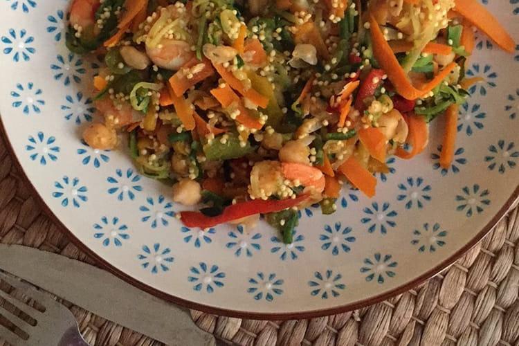 Poêlée de légumes aux crevettes