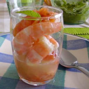 verrine de saumon et crevettes