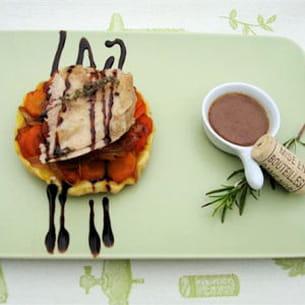 faisan rôti et farci aux herbes, tatin carotte échalote, réduction de beaujolais