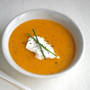 soupe potiron girolles et chantilly à la moutarde