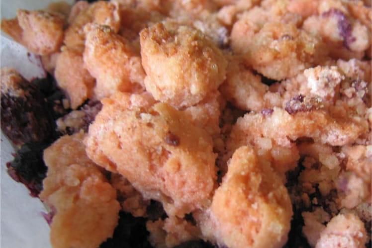 Crumble de myrtilles aux biscuits roses de Reims