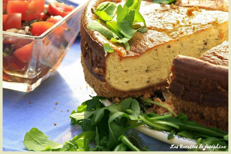 Cheesecake au gorgonzola et basilic confit