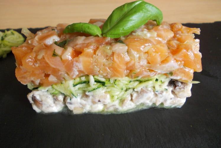 Tartare de saumon et courgettes