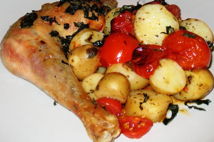 Poulet croustillant aux tomates confites