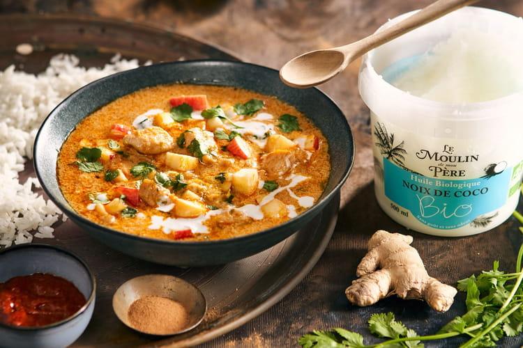 Curry de poulet à l'huile de coco