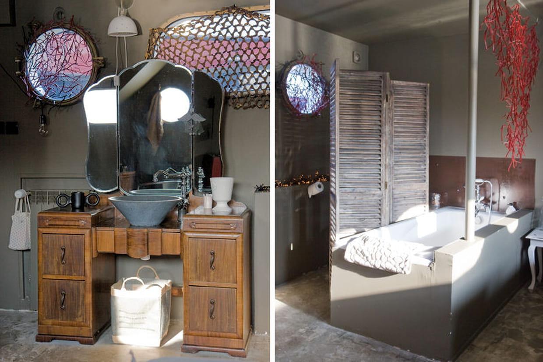 Une coiffeuse d tourn e en meuble vasque for Coiffeuse de salle de bain