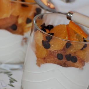 dessert au verre, façon tiramisu à l'orange