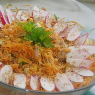 salade de carottes au thon, vinaigrette à l'orange