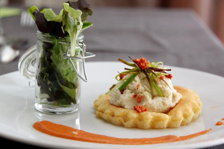 Tartelette d'artichaut et crème de chorizo