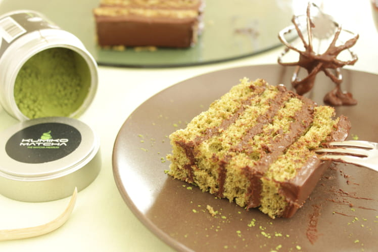 Gâteau chocolat et thé matcha, sans beurre