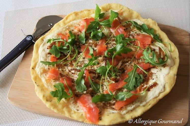 Pizza au saumon fumé Bio, sans oeufs et sans gluten