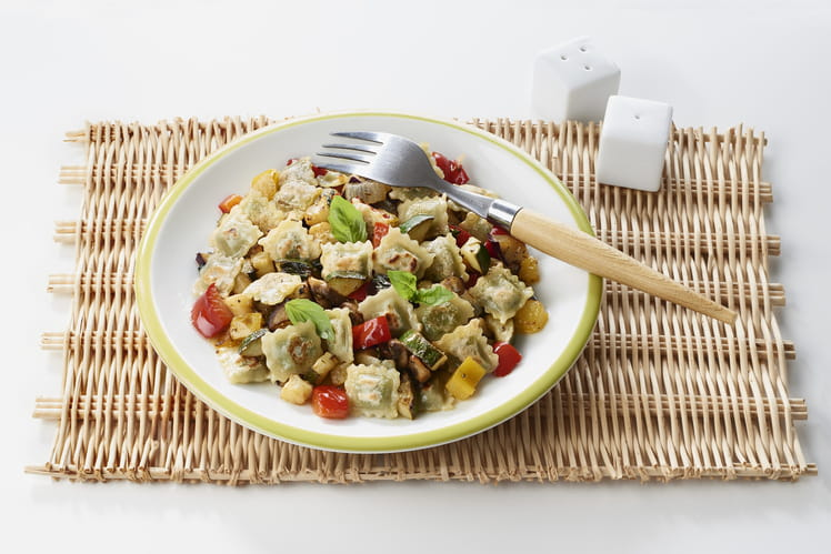 Légumes du soleil marinés à la plancha et ravioles fromage frais basilic