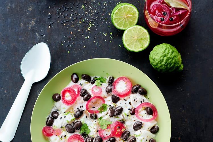 Ceviche de Cabillaud aux Haricots Noirs, lait de coco
