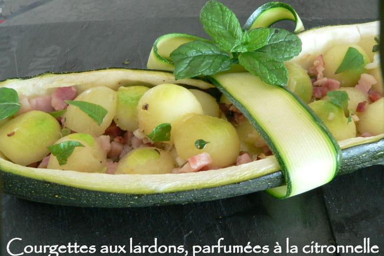 Courgettes aux lardons parfumées à la citronnelle