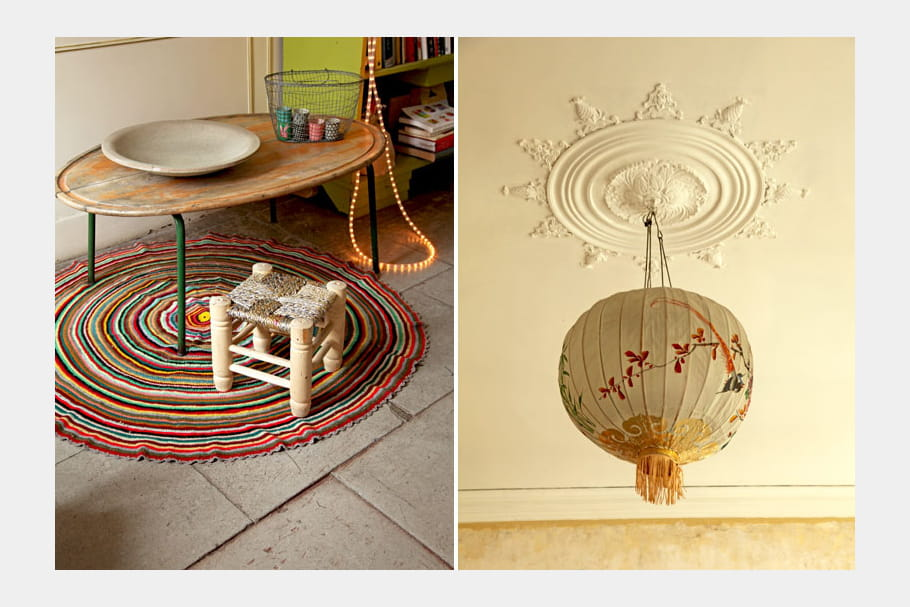 table basse et suspension en rondeurs d co color e et fantaisie dans un int rieur de cr atrice. Black Bedroom Furniture Sets. Home Design Ideas