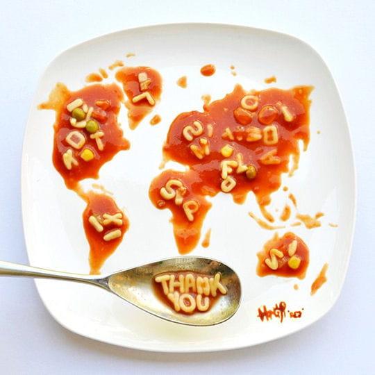 Carte du monde en ketchup