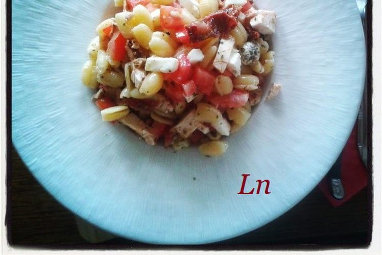 Salade de pâtes au poulet, tomates, mozzarella, jambon cru, basilic et tomate séchée