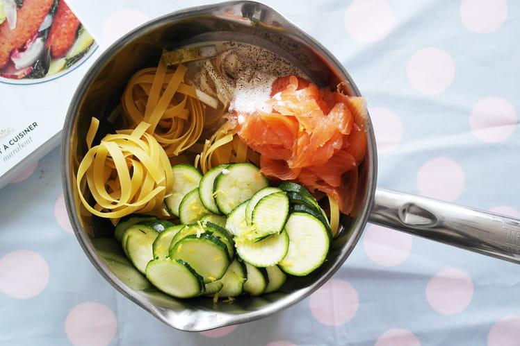 Pâtes saumon fumé-courgettes