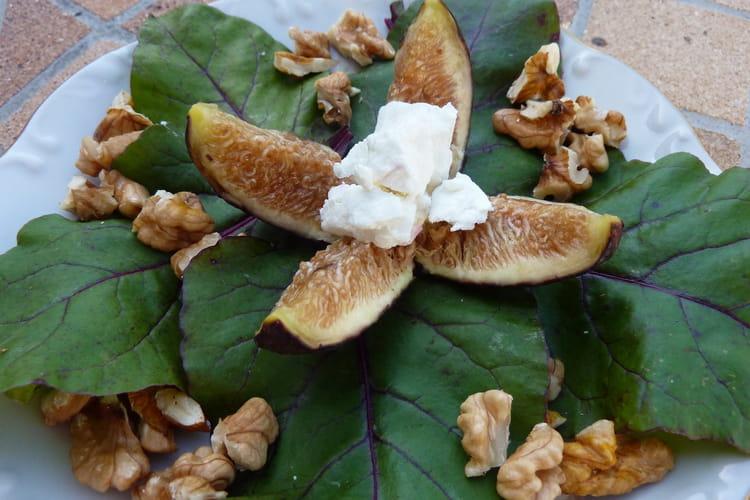 Salade de figues au chèvre frais et aux noix